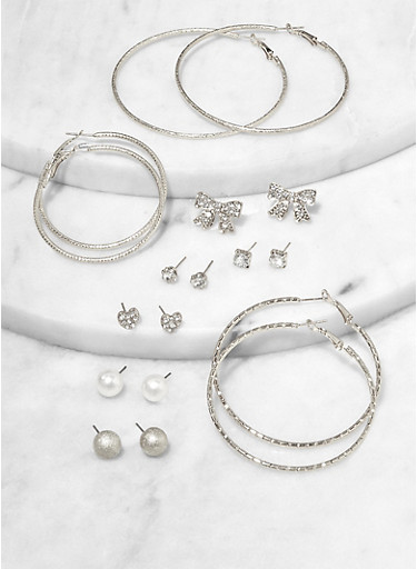 Rhinestone Bow Stud and Hoop Earrings Set,SILVER,large