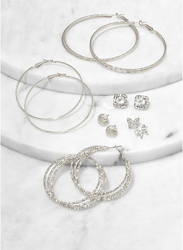 Butterfly Stud and Hoop Earring Set,SILVER,large