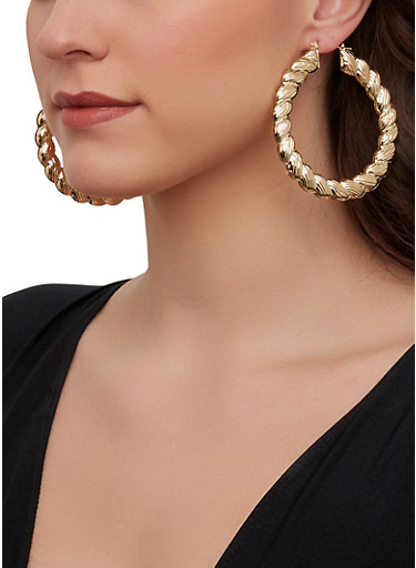 Metallic Braided Hoop Earrings,GOLD,large