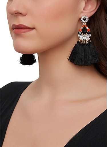 Jeweled Tassel Drop Earrings,BLACK,large