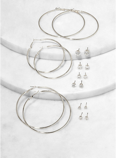 Hoop Earrings and Rhinestone Stud Set,SILVER,large
