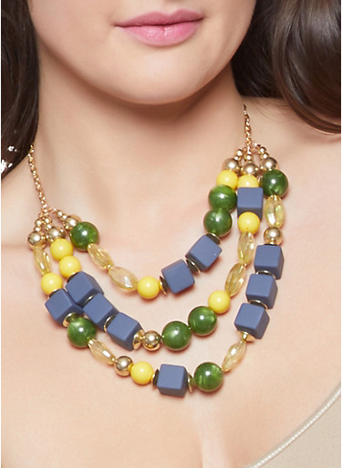 Large Beaded Necklace and Earrings,NAVY,large