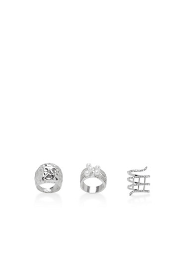 Set of 3 Faux Pearl and Rhinestone Rings,SILVER,large
