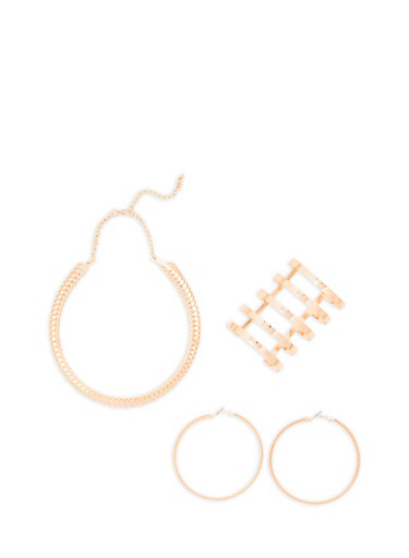 Coil Collar Necklace and Hoop Earrings with Cuff Bracelet,ROSE,large