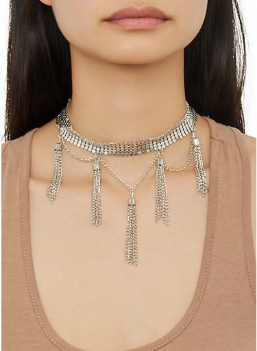 Metal Mesh Tassel Choker and Earrings,SILVER,large