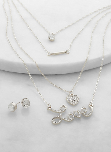 Rhinestone Love Layered Necklace and Earrings Set,SILVER,large