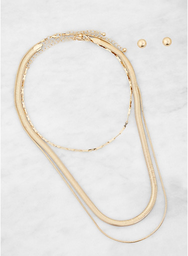 Metallic Necklaces with Stud Earrings,GOLD,large