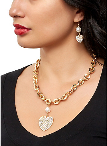 Faux Pearl Heart Chain Necklace and Earrings Set,GOLD,large