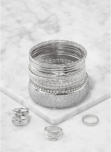 Trio of Rings and Bangles,SILVER,large