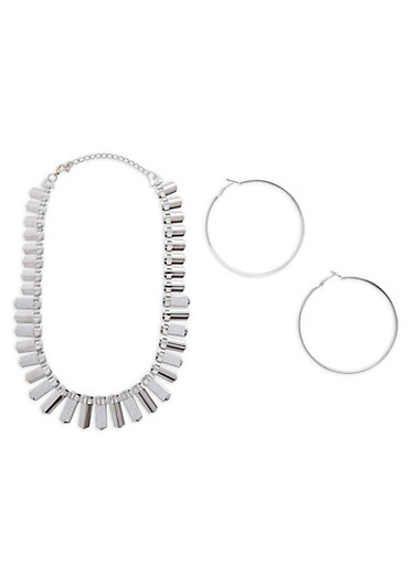 Flat Glitter Metallic Necklace with Hoop Earrings,SILVER,large