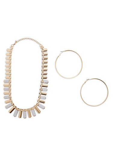 Flat Glitter Metallic Necklace with Hoop Earrings,GOLD,large