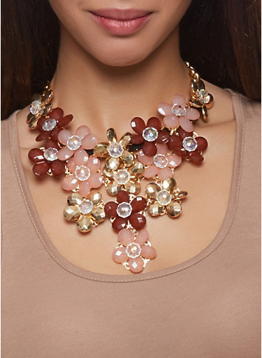 Flower Bib Curb Chain Necklace with Teardrop Earrings,BROWN,large
