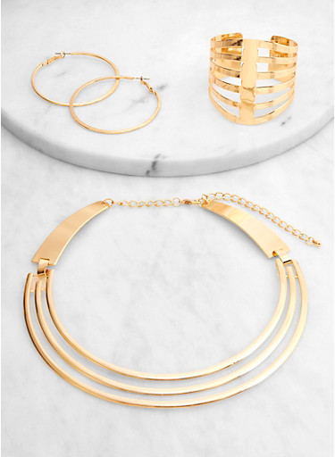 Metallic Caged Collar Necklace and Cuff with Hoop Earrings,GOLD,large