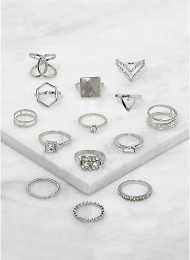 Set of 14 Assorted Rings,SILVER,large