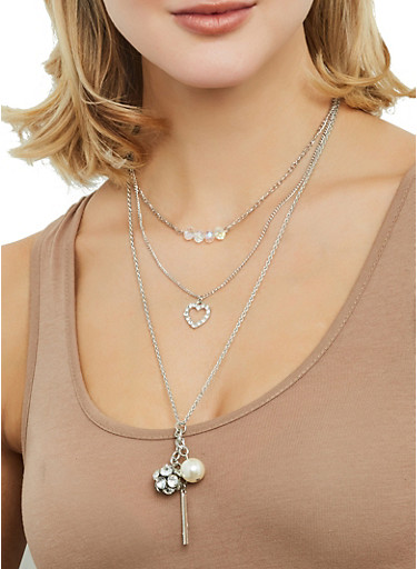 Layered Rhinestone Ball Charm Necklace and Stud Earrings Set,SILVER,large