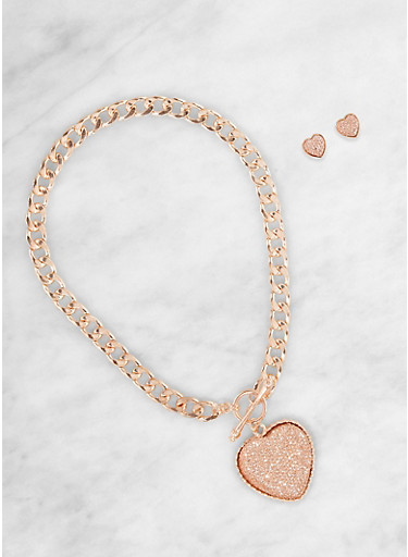 Heart Toggle Necklace with Stud Earrings,ROSE,large