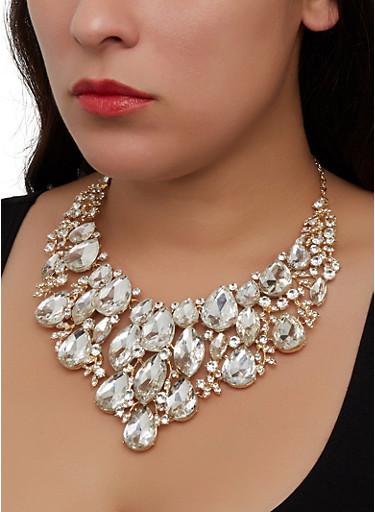 Rhinestone Jeweled Statement Necklace,GOLD,large