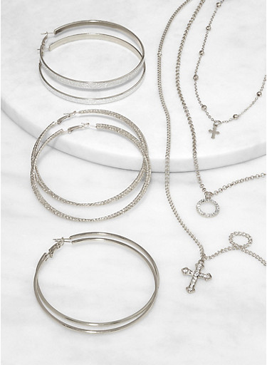 Layered Cross Necklace and Hoop Earring Trio,SILVER,large