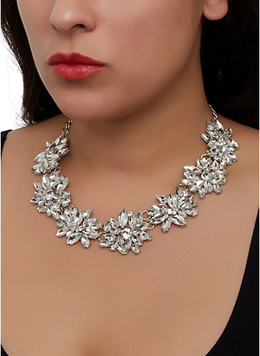 Statement Rhinestone Necklace,SILVER,large