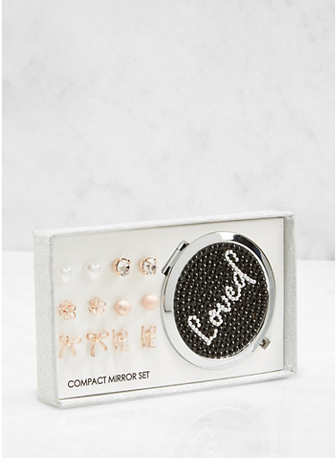 Loved Compact Mirror with Assorted Stud Earrings,ROSE,large