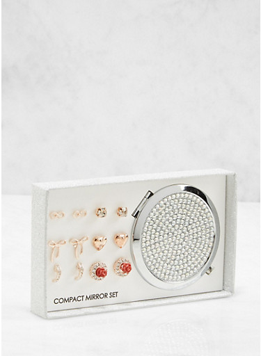 Rhinestone Compact Mirror with Assorted Stud Earrings,ROSE,large