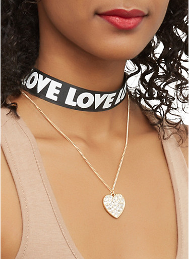 Love Ribbon Choker Set,BLACK,large