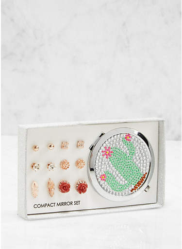 Cactus Compact Mirror with Assorted Stud Earrings,ROSE,large