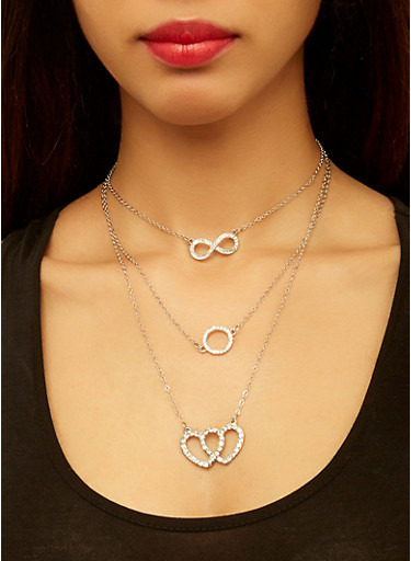 Layered Infinity Charm Necklace with Stud Earrings,SILVER,large