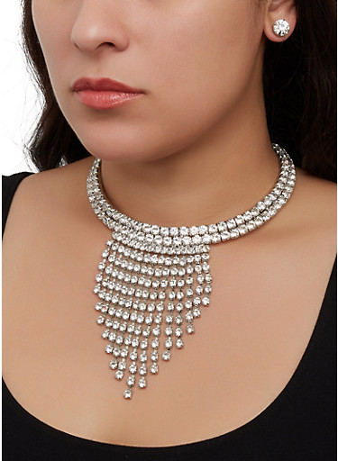 Rhinestone Collar Fringe Necklace with Stud Earrings,SILVER,large