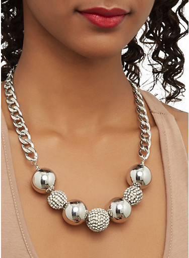 Rhinestone Ball Necklace with Stud Earrings,SILVER,large