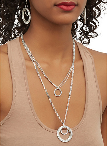 Layered O Ring Necklace with Drop Earrings,SILVER,large