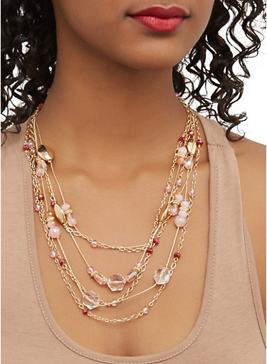 Layered Beaded Necklace and Earrings Set,GOLD,large