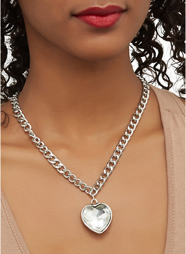 Set of Charm Necklaces with Stud Earrings,SILVER,large