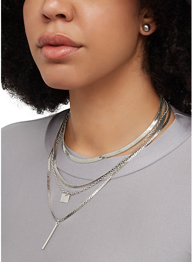 Flat Metallic Necklace with Earrings,SILVER,large