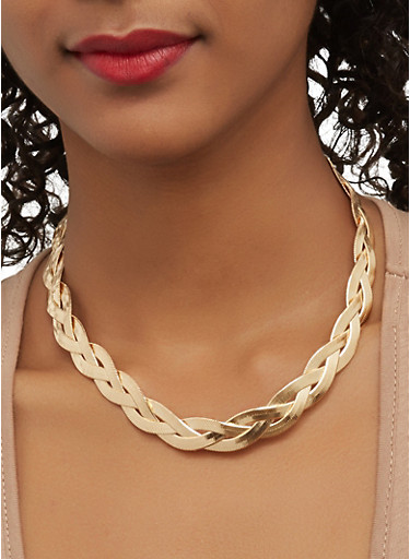 Braided Metallic Necklace with Stud Earrings,GOLD,large
