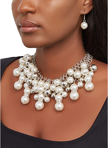 Faux Pearl Bib Necklace and Drop Earrings,SILVER,large