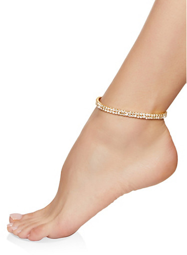 Double Row Rhinestone Anklet,GOLD,large