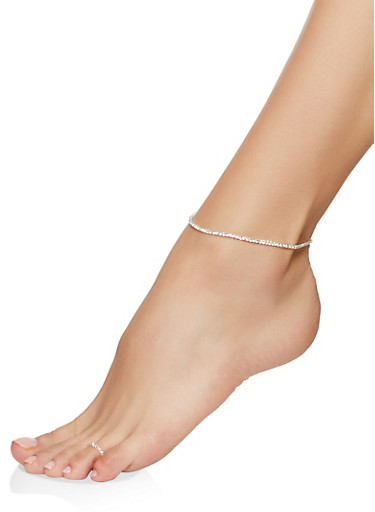 Rhinestone Stretch Anklet and Toe Ring,SILVER,large