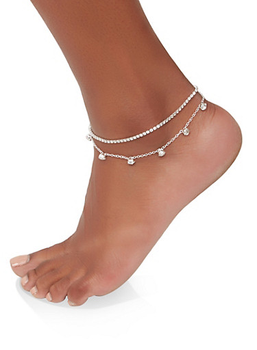 Layered Rhinestone Anklet,SILVER,large