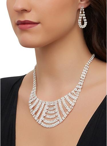 Rhinestone Bib Necklace and Drop Earrings Set,SILVER,large