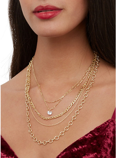 Layered Chain Necklace and Stud Earrings Set,GOLD,large