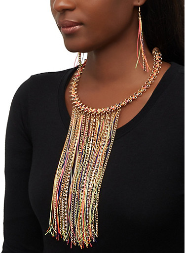 Thread and Chain Fringe Statement Necklace,NEON YELLOW,large