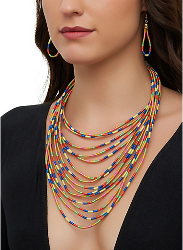 Multi Color Cord Necklace and Drop Earrings,MULTI COLOR,large