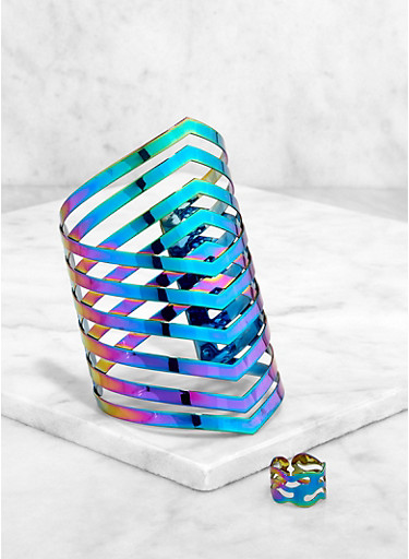 Caged Cuff Bracelet and Ring Set,MULTI COLOR,large