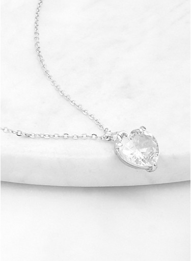 Large Heart Pendant Necklace,SILVER,large