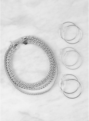 Metallic Chain Necklaces and Hoop Earrings Set,SILVER,large