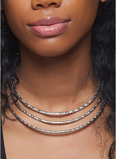 Metallic Coil Collar Necklace with Bangles and Hoop Earrings,SILVER,large