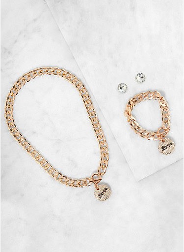 Love Curb Chain Necklace with Bracelet and Stud Earrings,ROSE,large