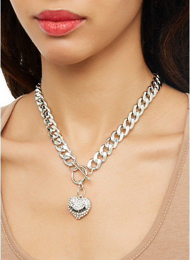 Rhinestone Curb Chain Necklace with Bracelet and Earrings,SILVER,large