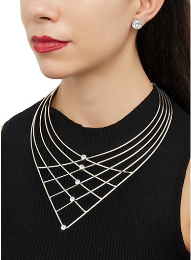 Caged Rhinestone Statement Necklace and Earrings,SILVER,large